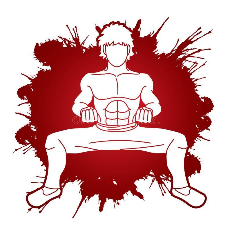 Action de Kung Fu d'homme prête à combattre le graphique illustration libre de droits
