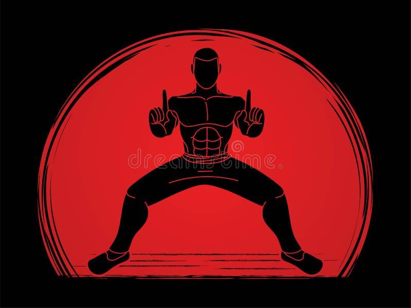 Action de Kung Fu d'homme prête à combattre illustration de vecteur