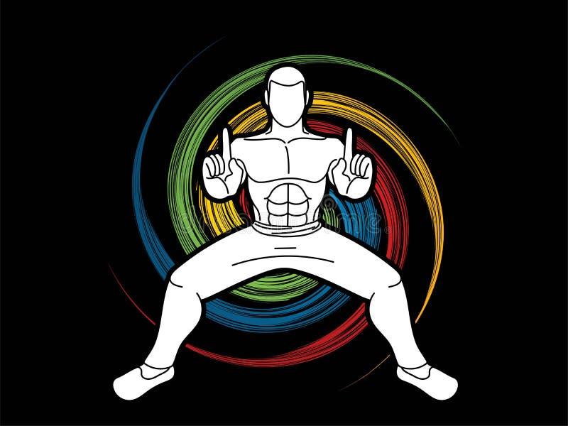 Action de Kung Fu d'homme prête à combattre illustration stock