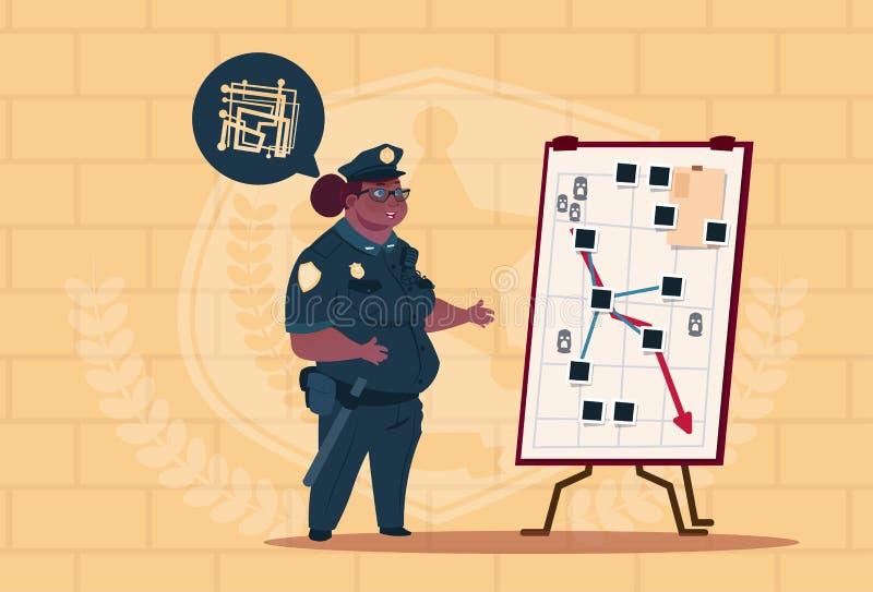 Action de planification de femme de police d'afro-américain sur le conseil blanc portant le fond femelle uniforme d'On Blue Brick illustration de vecteur