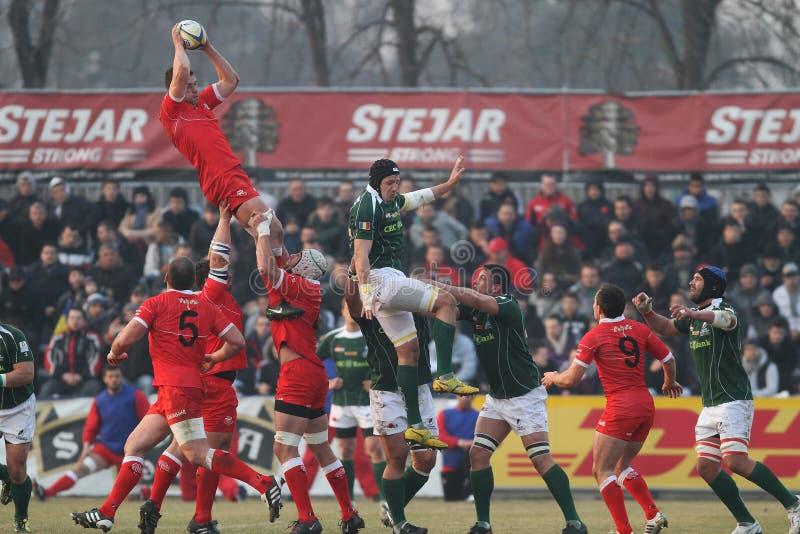 Action de rugby, Roumanie contre la Géorgie (Sakartvelo) photo stock