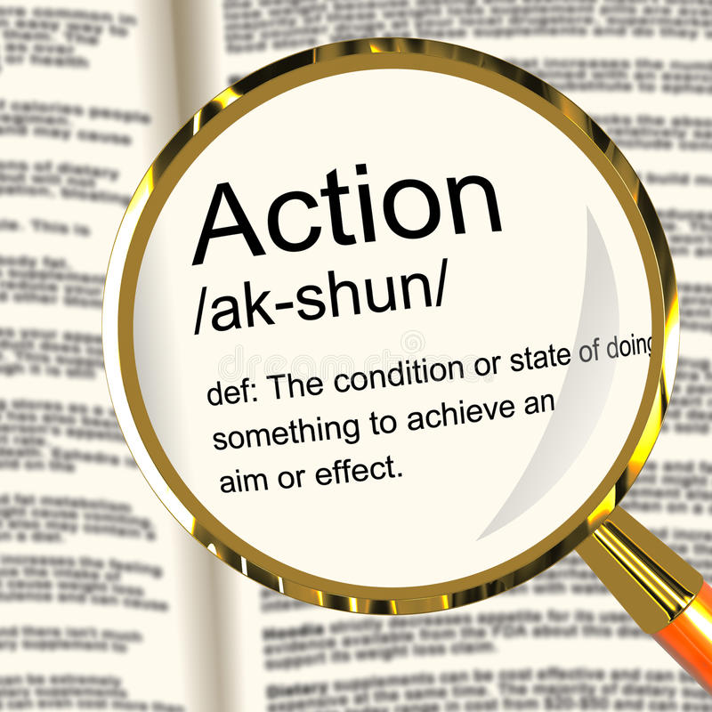 Action Definition Magnifier Showing Acting Or Proactive royalty free illustration