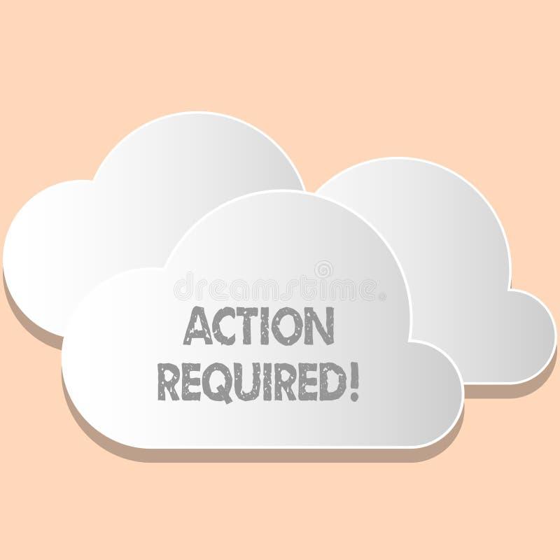 Action des textes d'écriture de Word requise Concept d'affaires pour la tâche importante rapide immédiate nécessaire d'acte impor illustration stock