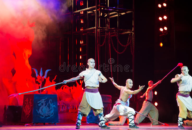 Action drama Legend of Kungfu, Beijing, China. Action drama Legend of Kungfu, the most exciting kungfu show in the world, Red Theater, Beijing, China royalty free stock images