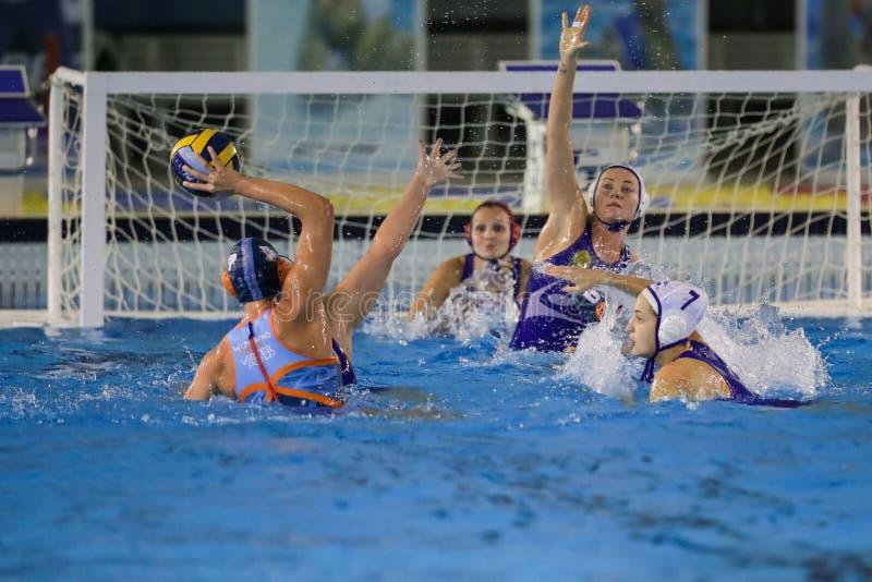 Waterpolo EuroLeague Women Championship Kinef Surgutneftegas Kirishi vs Dunaujvaros stock photography