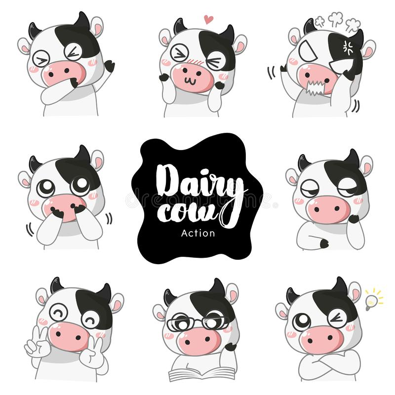 Many mascot emotion cute Dairy cow. stock illustration