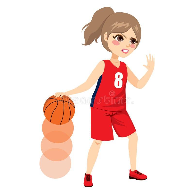 Action femelle de joueur de basket illustration de vecteur