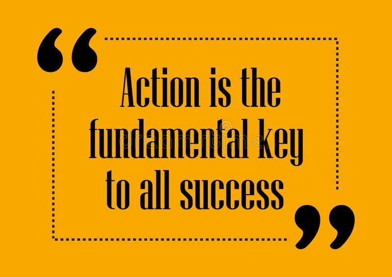 Action is the fundamental key of all success Inspirational quote Business card stock illustration