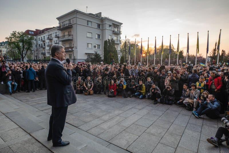 Action of gratitude to the President of Ukraine Petro Poroshenko. KYIV, UKRAINE - Apr 22, 2019: Action of gratitude to the President of Ukraine Petro Poroshenko royalty free stock images
