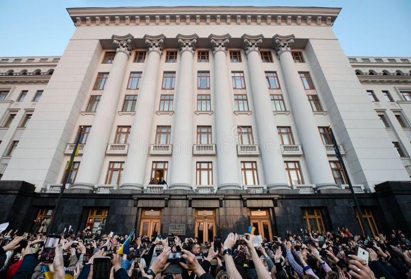 Action of gratitude to the President of Ukraine Petro Poroshenko. KYIV, UKRAINE - Apr 22, 2019: Action of gratitude to the President of Ukraine Petro Poroshenko royalty free stock photo