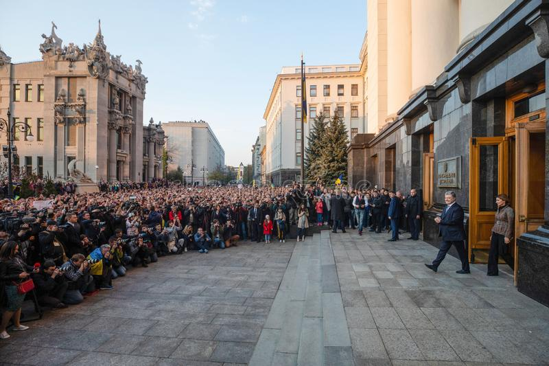 Action of gratitude to the President of Ukraine Petro Poroshenko. KYIV, UKRAINE - Apr 22, 2019: Action of gratitude to the President of Ukraine Petro Poroshenko stock image