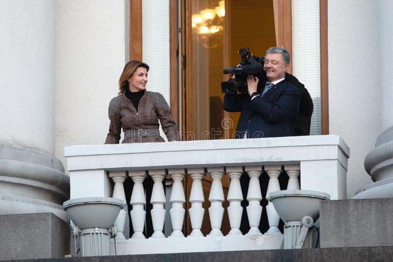 Action of gratitude to the President of Ukraine Petro Poroshenko. KYIV, UKRAINE - Apr 22, 2019: Action of gratitude to the President of Ukraine Petro Poroshenko stock images