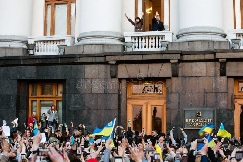 Action of gratitude to the President of Ukraine Petro Poroshenko. KYIV, UKRAINE - Apr 22, 2019: Action of gratitude to the President of Ukraine Petro Poroshenko stock photo