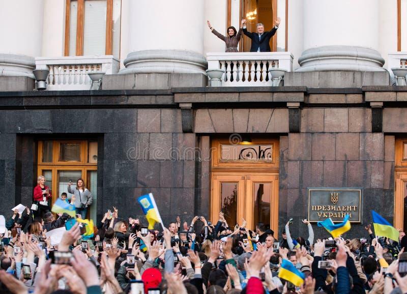 Action of gratitude to the President of Ukraine Petro Poroshenko. KYIV, UKRAINE - Apr 22, 2019: Action of gratitude to the President of Ukraine Petro Poroshenko stock photography