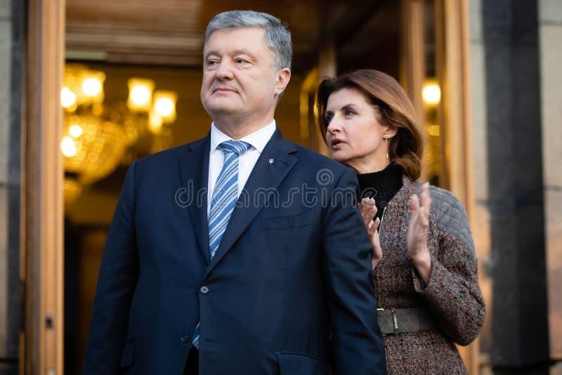 Action of gratitude to the President of Ukraine Petro Poroshenko. KYIV, UKRAINE - Apr 22, 2019: Action of gratitude to the President of Ukraine Petro Poroshenko royalty free stock photos