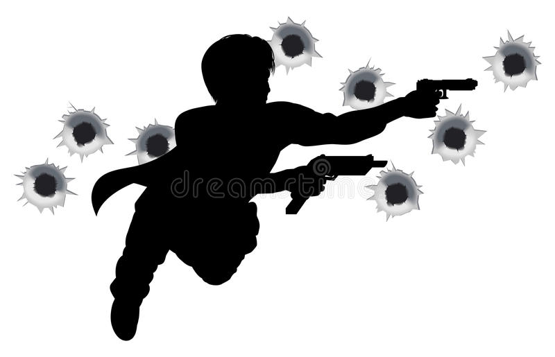 Action hero in gun fight silhouette. Action hero leaping through the air and shooting in film style gun fight action sequence. With bullet holes royalty free illustration