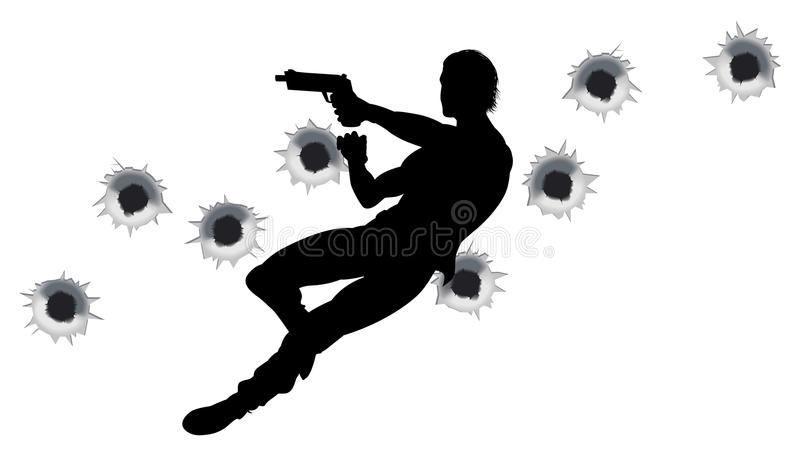 Action hero in gun fight silhouette. Action hero leaping through the air and shooting in film style gun fight action sequence. With bullet holes stock illustration
