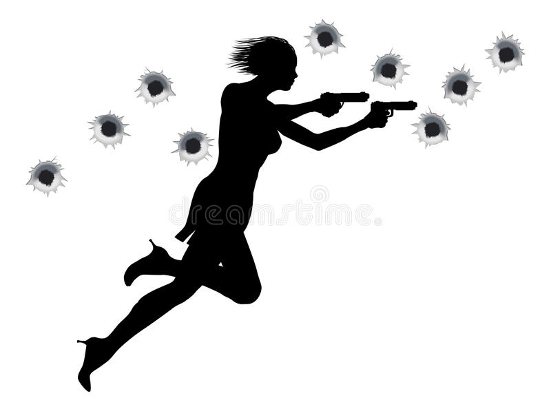 Action Hero Shoot Out Woman. A femme fatale woman with two guns in Hollywood style action sequence stock illustration