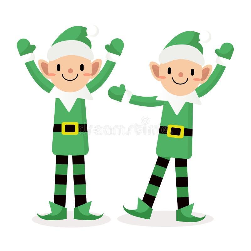 Action heureuse de caractère d'Elf, Joyeux Noël illustration libre de droits