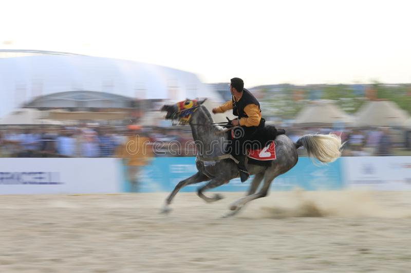Javelin is played on horse - Turkish Cirit Sporu stock photos