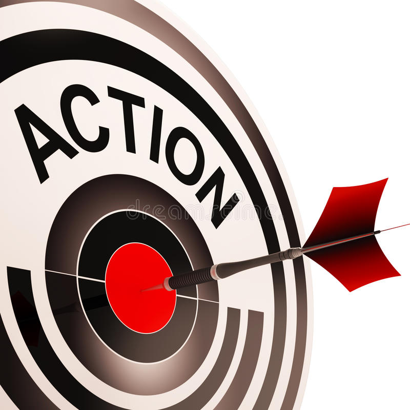 Action Means Acting Or Proactive. Action Meaning Acting Motivation Active Or Proactive royalty free illustration