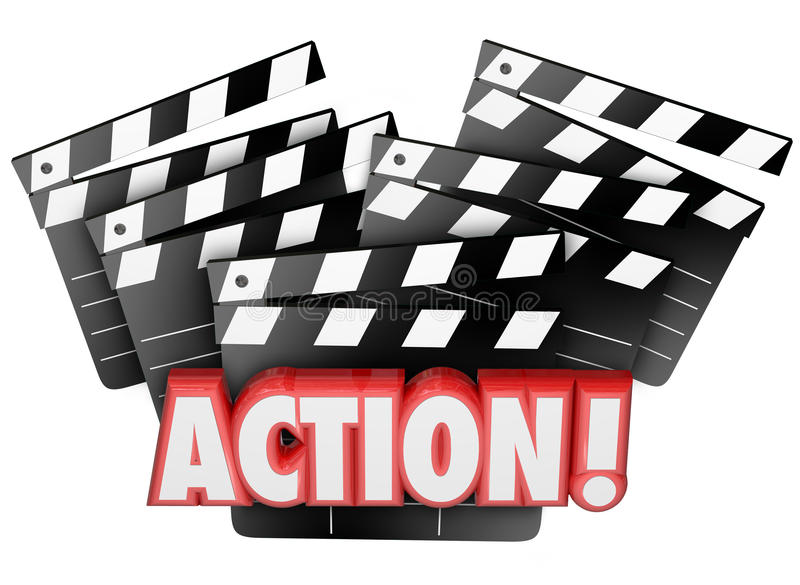 Action Movie Clapper Boards Acting Direction Producing Film Maki. Action word on movie clapper boards to illustrate directing, acting, producing or making a film royalty free illustration