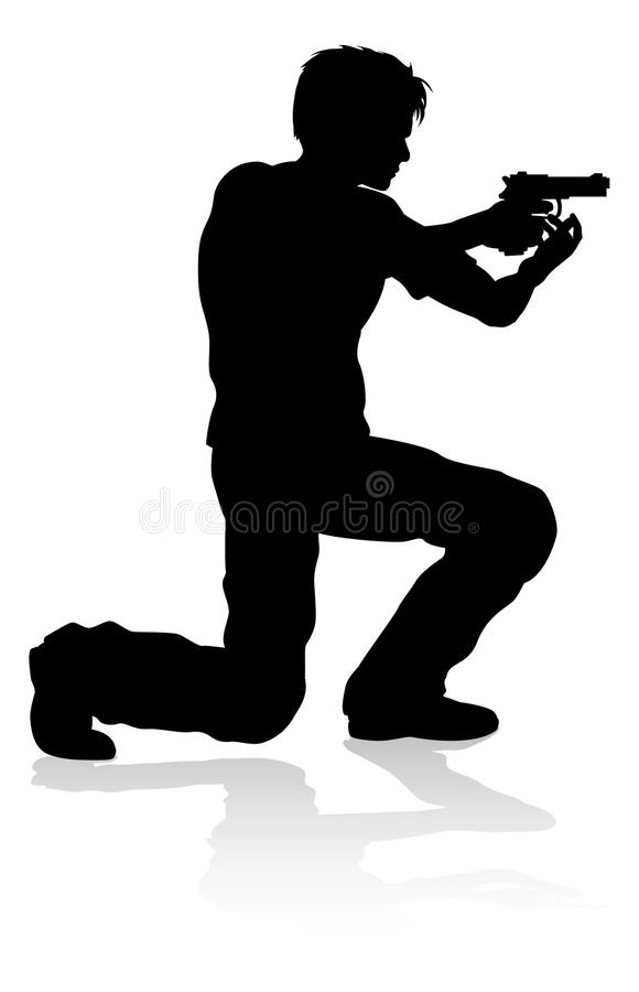 Action Movie Shoot Out Person Silhouette. Silhouette person in an action movie film shoot out pose stock illustration