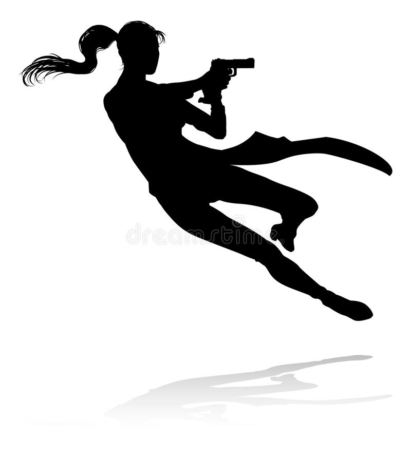 Action Movie Shoot Out Person Silhouette. Silhouette woman in an action movie film shoot out pose royalty free illustration