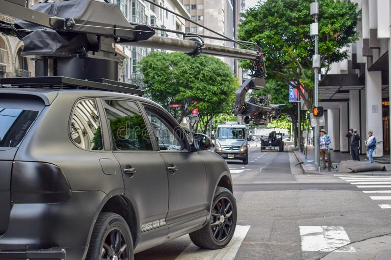 Action Movie Shooting in Downtown Los Angeles with Camera Car stock photography