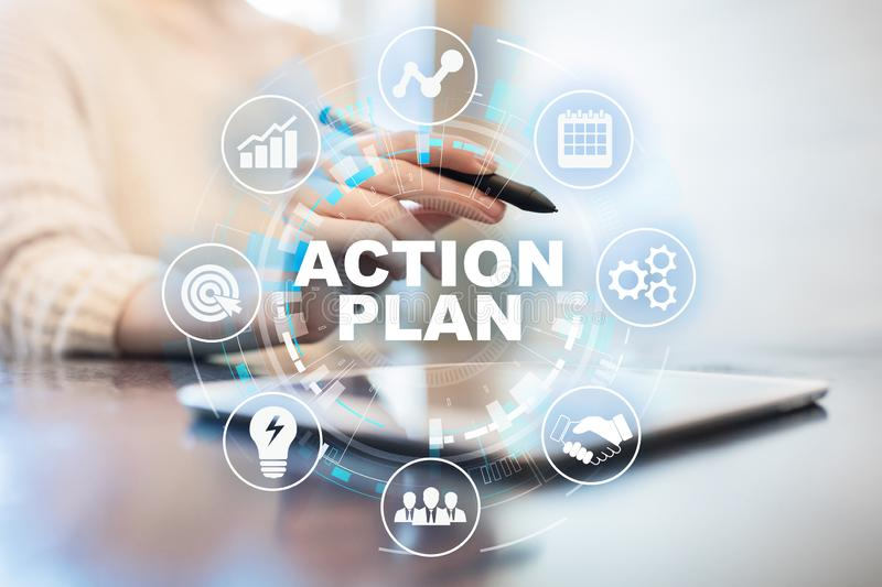 Action plan, business strategy, time management concept on virtual screen. Action plan, business strategy, time management concept on virtual screen stock photos