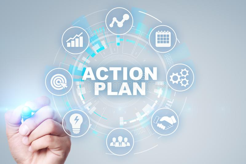 Action plan, business strategy, time management concept on virtual screen. Action plan, business strategy, time management concept on virtual screen royalty free stock image