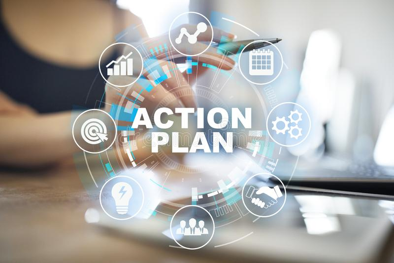 Action plan, business strategy, time management concept on virtual screen. Action plan, business strategy, time management concept on virtual screen stock photo
