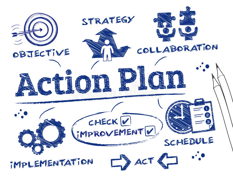 Action Plan. Chart with keywords and icons stock illustration