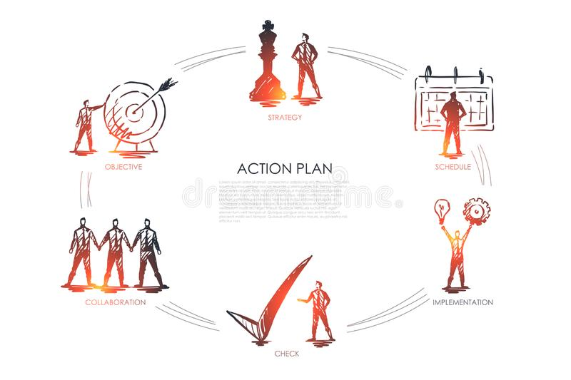 Action plan - strategy, collabororation, check, implementation, objective set concept. Action plan - strategy, collabororation, check, implementation, objective stock illustration