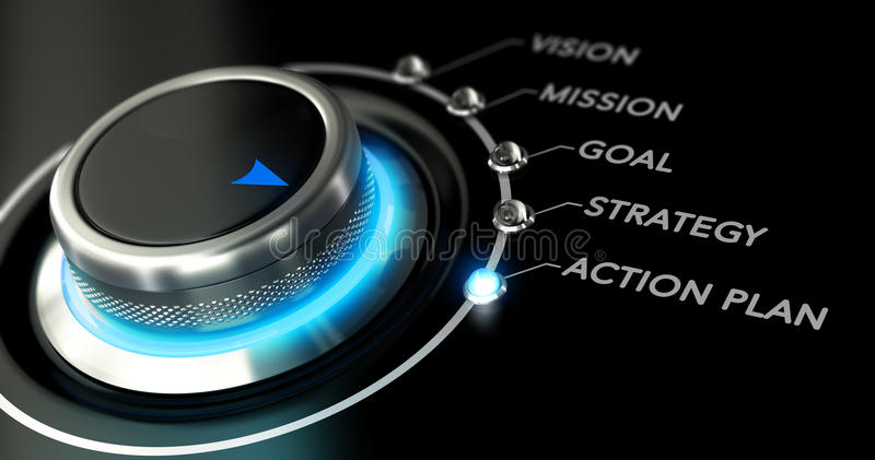Action Plan. Switch button with blue light, black background. Conceptual image for illustration of business action plan
