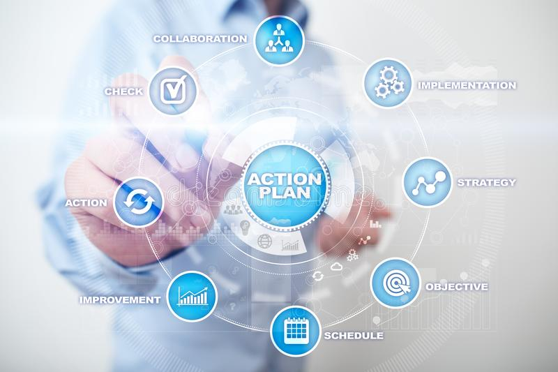 Action plan on the virtual screen. Planning concept. Business strategy.  stock photography