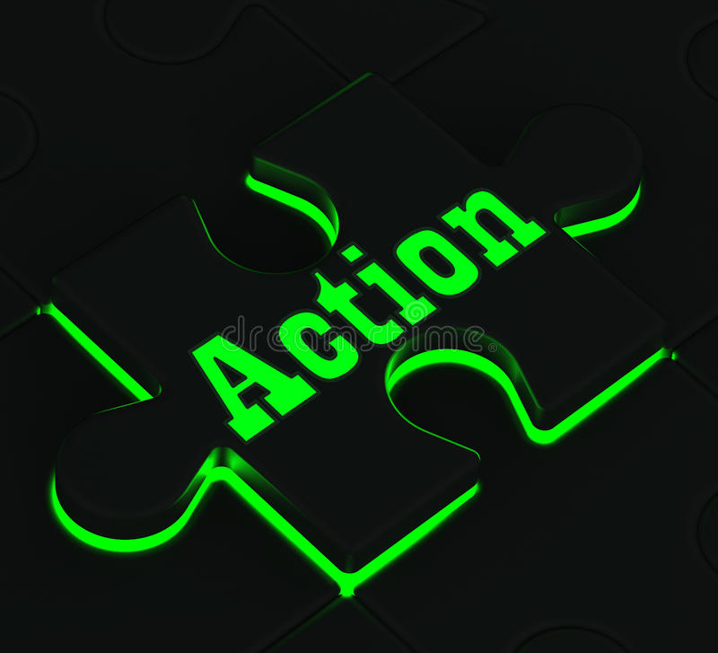 Action Puzzle Showing Motivation And Activism. Action Glowing Puzzle Showing Motivation, Activism And Inspiration royalty free illustration