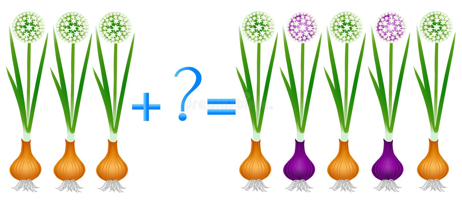 Action relationship of addition, examples with plant onion. Educational game for children. Action relationship of addition, examples with plant onion royalty free illustration