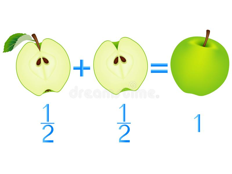 Action relationship of addition halves, examples with apples. Educational game for children. Action relationship of addition halves, examples with apples stock illustration