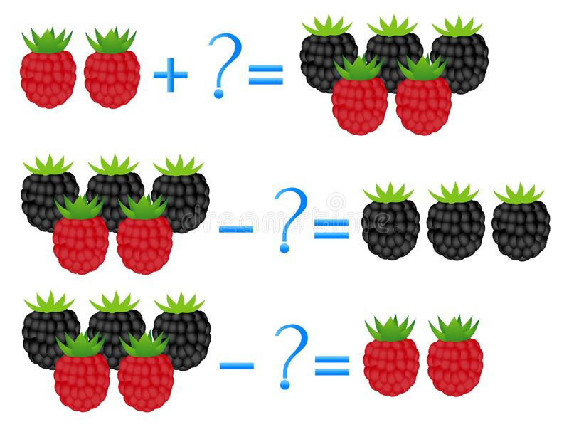 Action relationship of addition and subtraction, examples with berries. Educational games for children. Action relationship of addition and subtraction royalty free illustration