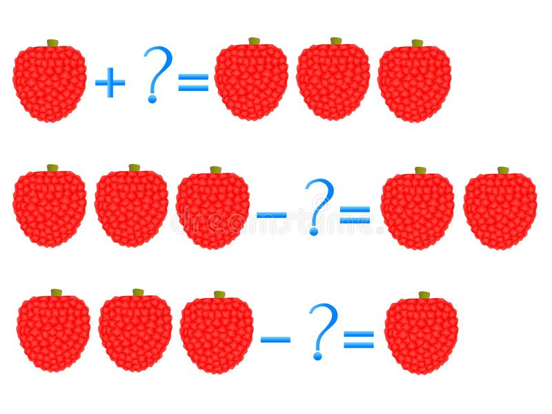 Action relationship of addition and subtraction, examples with of a lychee. Educational games for children. Action relationship of addition and subtraction stock illustration