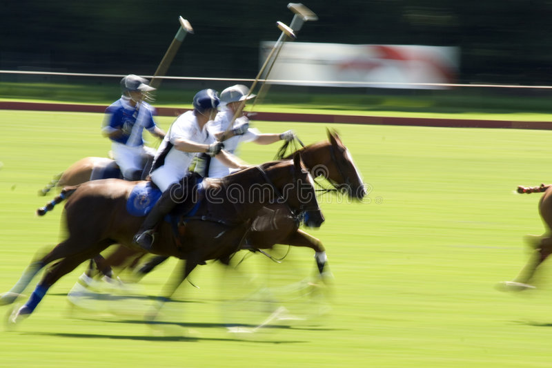 Action shot of a polo match stock images