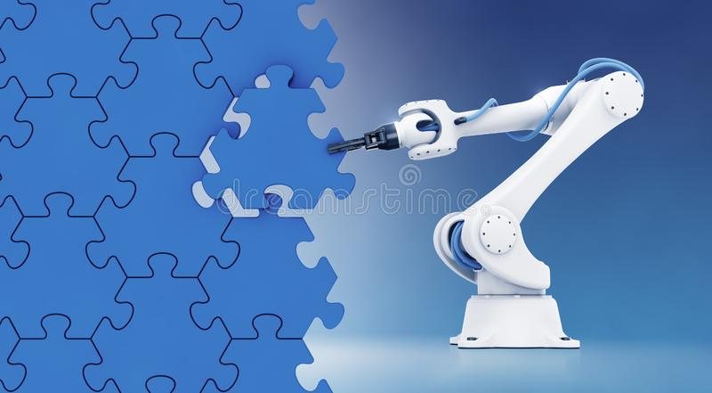 Action Show Of Robotic Manipulator. Mechanical arm of an industrial robot assembling wall from pieces of a jigsaw puzzle. 3d rendering graphic composition on the royalty free illustration