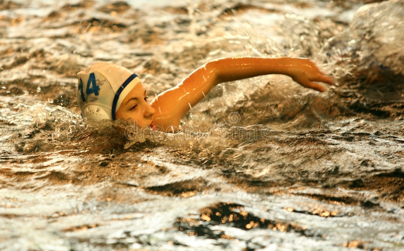 Action swimmer stock photo