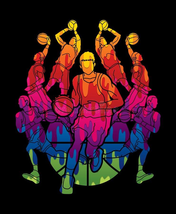 Action trempante de boule d'égoutture de joueur d'équipe de basket illustration de vecteur