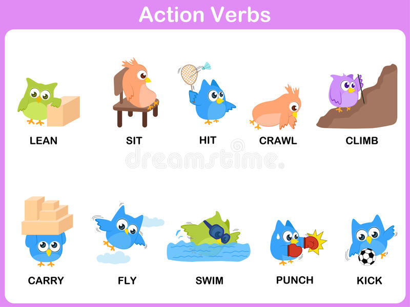 download action verbs picture dictionary activity for kids stock vector illustration of preschool