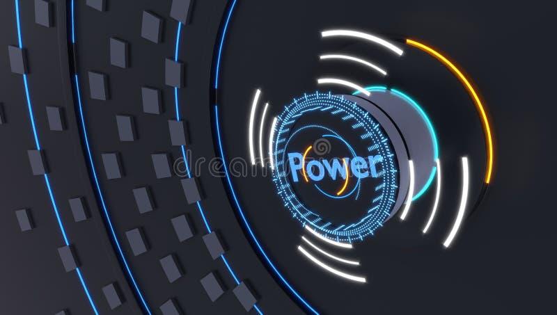 Actionnez l'icône avec les lumières futuristes d'hologrammes, l'illustration 3d photographie stock libre de droits