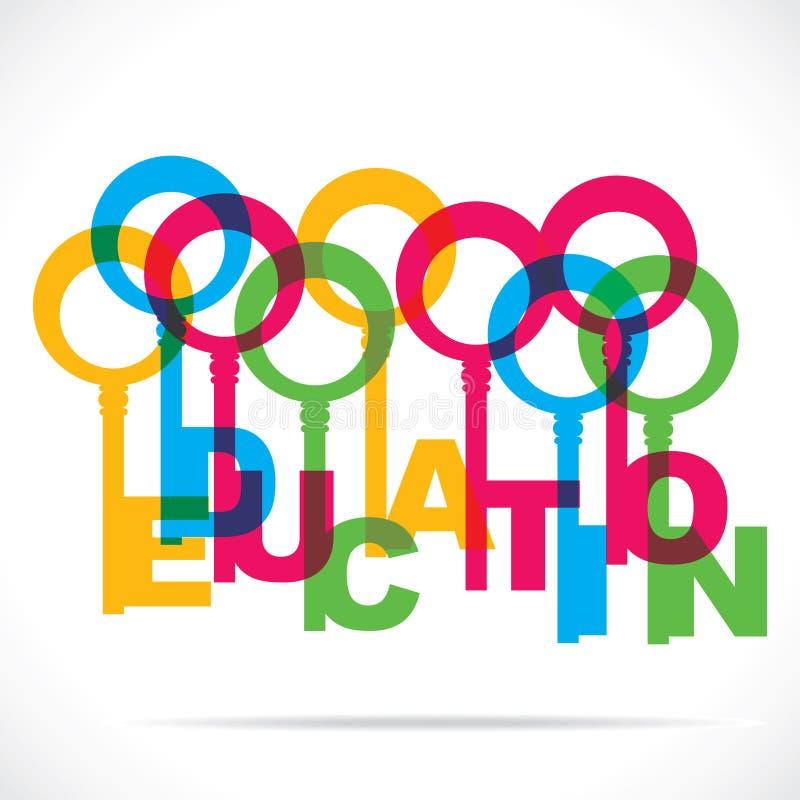 Clé colorée de mot d'éducation illustration de vecteur