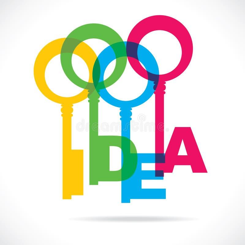 Clé colorée de mot d'idée illustration de vecteur
