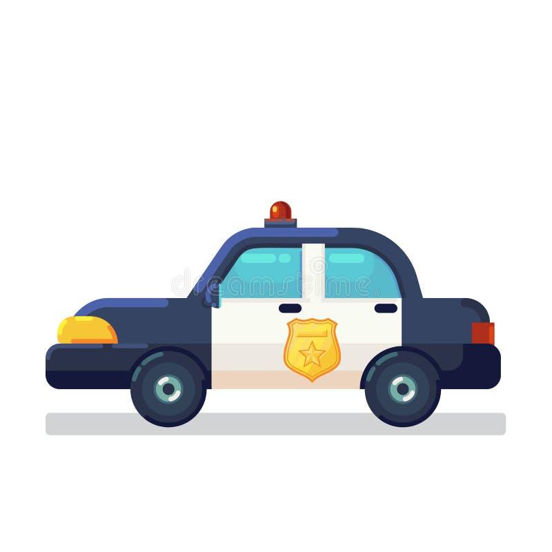 Actions d'icône de voiture Vue de côté plate de voiture de police d'illustration de vecteur d'isolement sur le blanc illustration stock